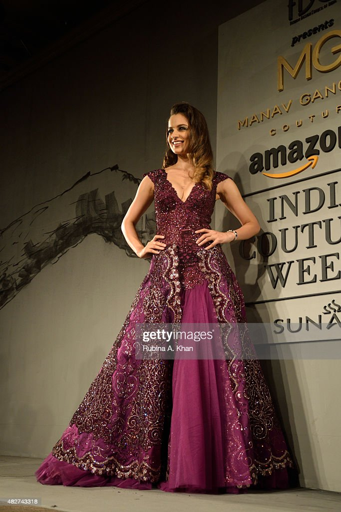 Bollywood actress Kangna Ranaut models designer Manav Gangwani's couture line on the fifth and final day of the Fashion Design Council of India's (FDCI) Amazon India Couture Week 2015 on August 2, 2015 at the Taj Palace Hotel in New Delhi, India.
