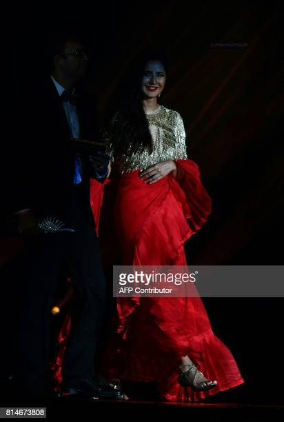 Bollywood Actress Katrina Kaif arrives on stage during IIFA Rocks July 14 2017 at the MetLife Stadium in East Rutherford New Jersey during the 18th...