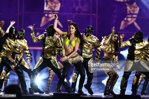 Bollywood actress Katrina Kaif performs during the 18th International Indian Film Academy Festival at the MetLife Stadium in East Rutherford New...
