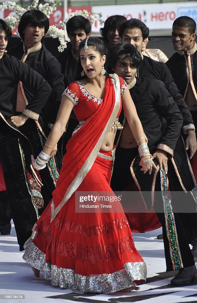 Bollywood actress Katrina Kaif performs during the opening ceremony of Hockey India League match at the Major Dhyan Chand Stadium, on January 19, 2013 in Lucknow, India.