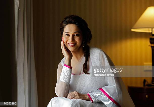 Bollywood actress Madhuri Dixit poses for the camera during a profile shoot on December 17 2011 in Mumbai India