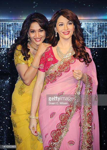 Bollywood actress Madhuri DixitNene unveils her new wax figure at Madame Tussauds on March 7 2012 in London England