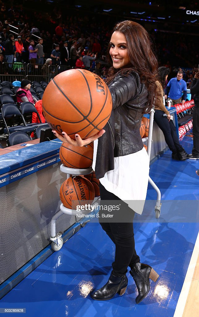 Bollywood actress <a gi-track='captionPersonalityLinkClicked' href=/galleries/search?phrase=Neha+Dhupia&family=editorial&specificpeople=2195000 ng-click='$event.stopPropagation()'>Neha Dhupia</a> before the New York Knicks face off against the Atlanta Hawks on January 3, 2016 at Madison Square Garden in New York, New York.