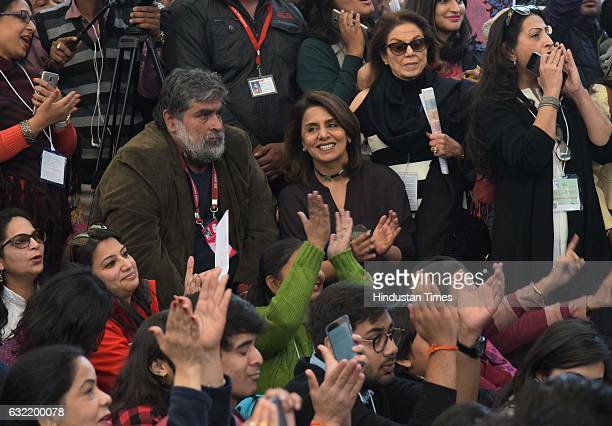 Bollywood actress Nitu Singh enjyoing the session 'Main Shayar Toh Nahine' on January 20 2017 in Jaipur India
