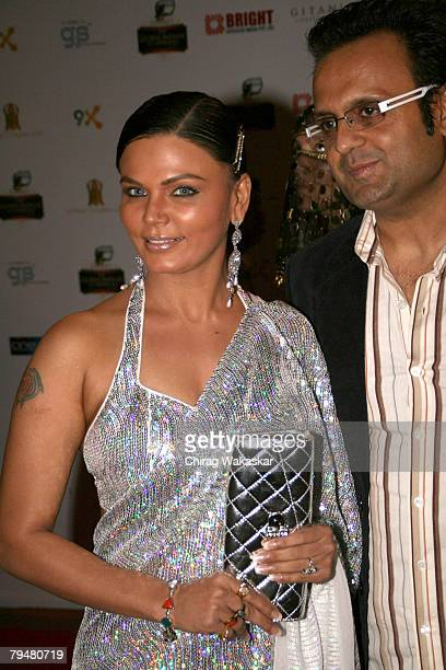 Bollywood Actress Rakhi Sawant arrives for the 'The Global Indian TV Honours' held at Andheri Sports Complex on February 1 2008 in Mumbai India