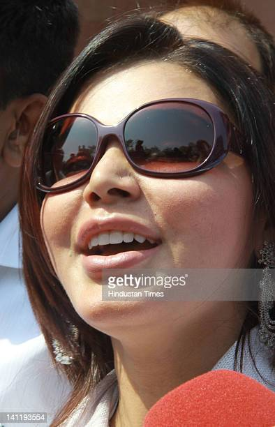 Bollywood actress Rakhi Sawant visits Parliament house during the joint session of Parliament on the opening day of Budget session at Parliament...