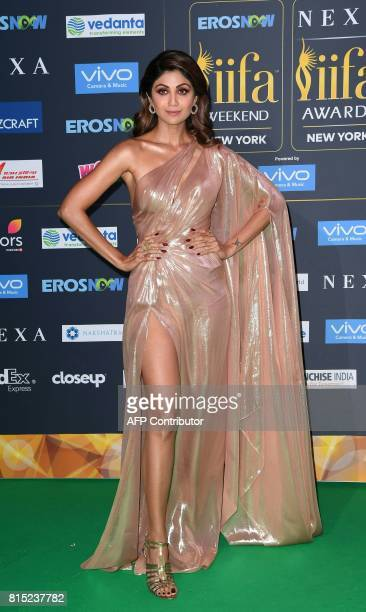 Bollywood Actress Shilpa Shetty arrives for the IIFA Awards July 15 2017 at the MetLife Stadium in East Rutherford New Jersey during the 18th...