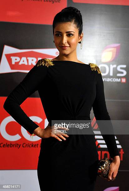 Bollywood actress Shruti Haasan poses for a photograph during the Celebrity Cricket League Season 4 event in Mumbai on late December 20 2013 AFP...
