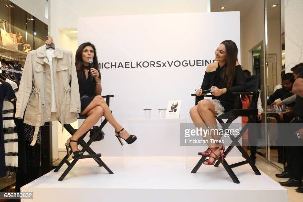 Bollywood actress Sonakshi Sinha and celebrity stylist Anaita Shroff Adajania during an event at Michael Kors store at DLF Emporio Mall on March 20...