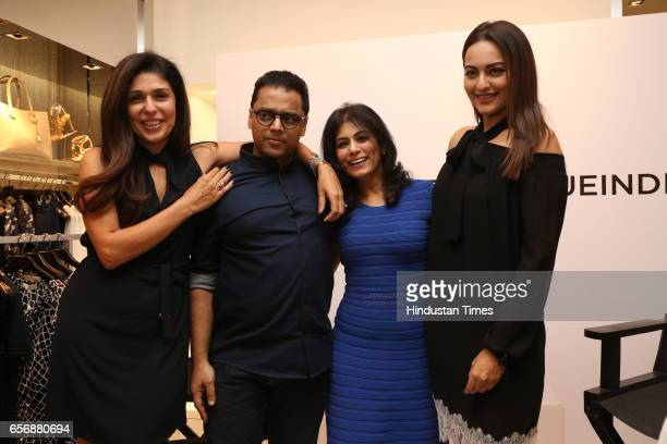 Bollywood actress Sonakshi Sinha celebrity stylist Anaita Shroff Adajania Colston Julian and Deepika Gehani during an event at Michael Kors store at...