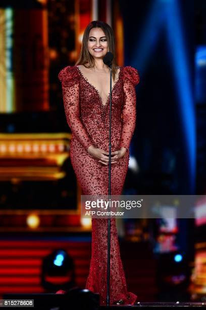 Bollywood actress Sonakshi Sinha speaks on stage during 18th International Indian Film Academy Festival at the MetLife Stadium in East Rutherford New...