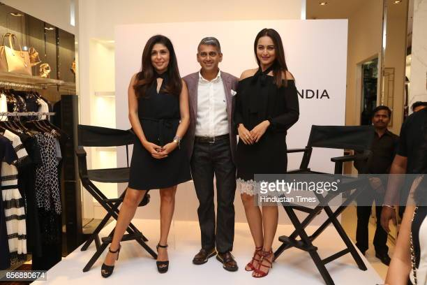 Bollywood actress Sonakshi Sinha with Celebrity stylist Anaita Shroff Adajania and Sanjay Kapoor during an event at Michael Kors store at DLF Emporio...