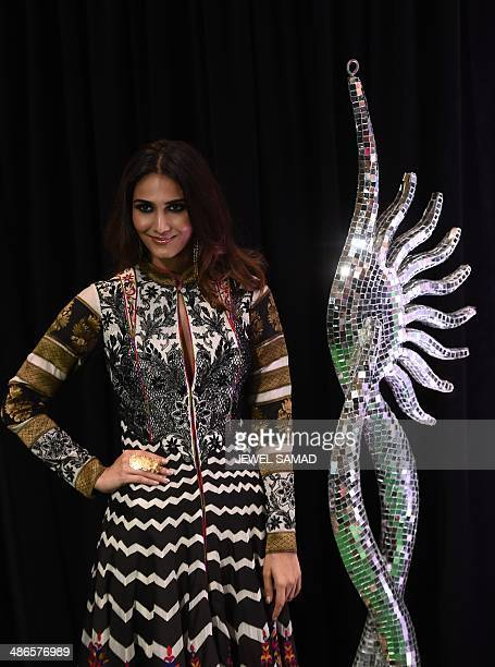 Bollywood actress Vaani Kapoor poses on the green carpet at the Tampa Convention Center ahead of IIFA Rocks on the second day of the 15th...