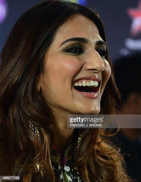 Bollywood actress Vaani Kapoor poses on the green carpet on arrival for the IIFA Rocks event at the Tampa Convention Center in Tampa Florida April 24...
