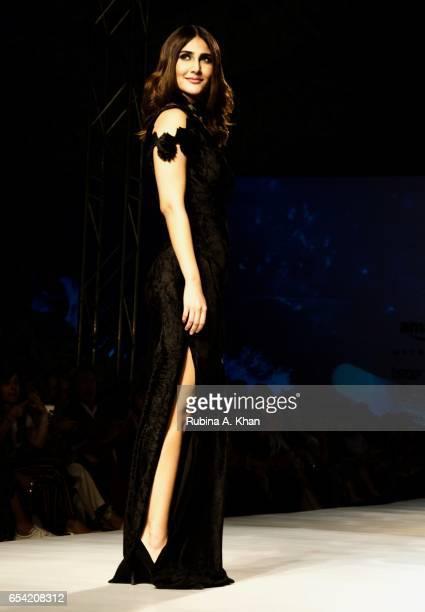 Bollywood actress Vaani Kapoor walks for fashion designer Rina Dhaka at Jawaharlal Nehru Stadium on March 16 2017 in New Delhi India