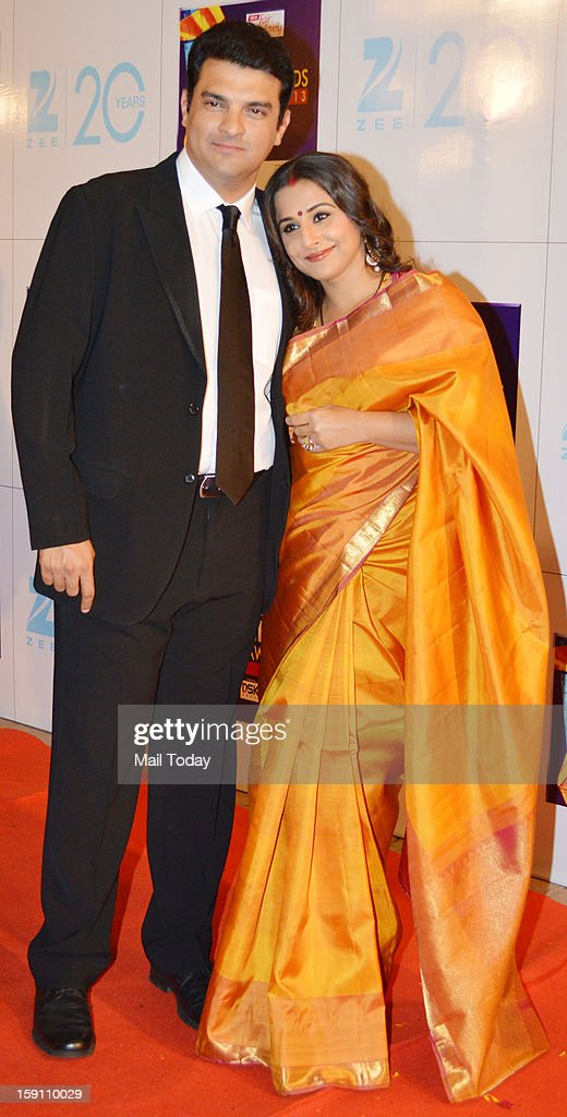 Bollywood actress Vidya Balan and her husband <a gi-track='captionPersonalityLinkClicked' href=/galleries/search?phrase=Siddharth+Roy+Kapur&family=editorial&specificpeople=6236847 ng-click='$event.stopPropagation()'>Siddharth Roy Kapur</a>, CEO, UTV Motion Pictures at the Zee Cine Awards 2013, held in Mumbai on January 6, 2013.