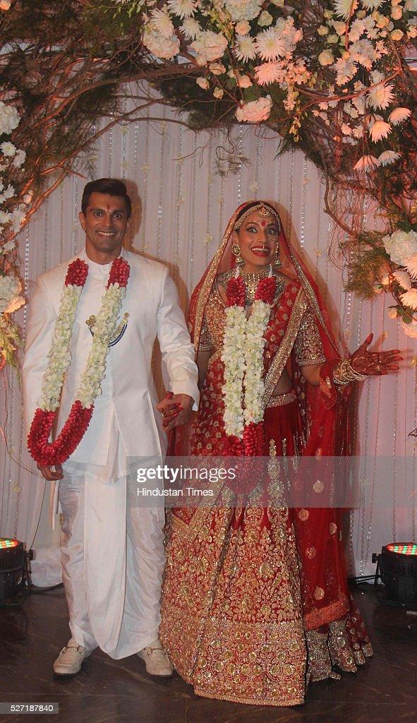 Bollywood Bipasha Basu And Karan Singh Pose For Shutterbugs After Their Wedding Ceremony On April