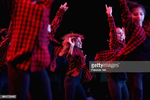 Bollywood Dance performs during the Dubai Fitness Challenge Opening Carnival at Safa Park on October 20 2017 in Dubai United Arab Emirates The...