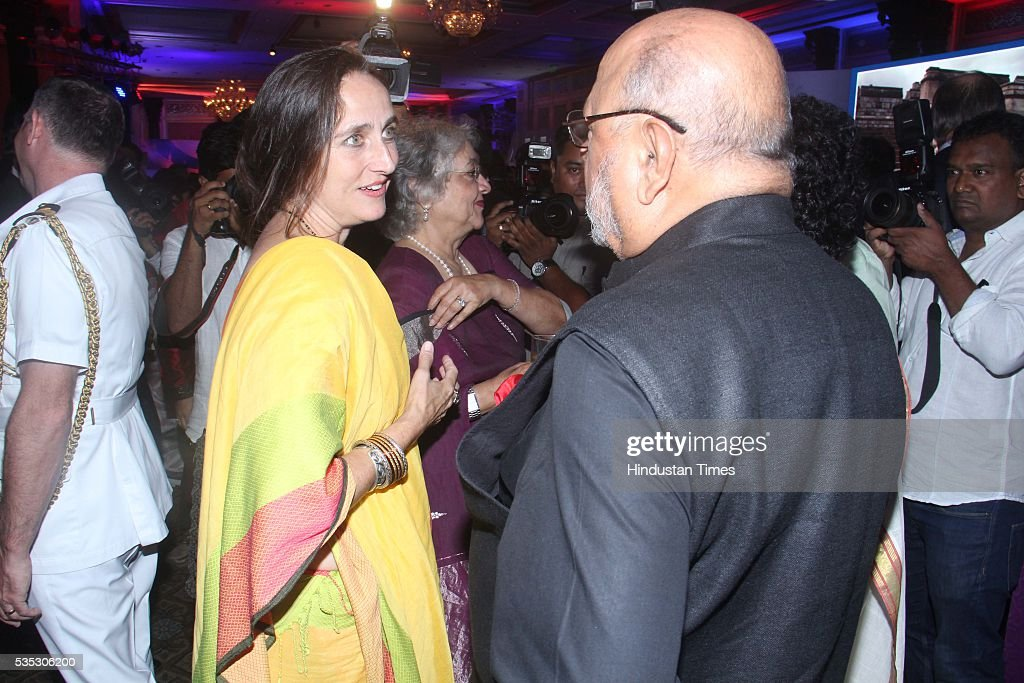 Bollywood director and screenwriter Shyam Benegal (R) with and actress Sanjana Kapoor (L) during the 90th birthday celebrations of Queen Elizabeth II, hosted by the British Deputy High Commissioner Shekhar Iyer, at Crystal Room, Taj Mahal Palace, Colaba on May 26, 2016 in Mumbai, India. Hollywood actor McKellen said, 'I am thankful to the British Council who got me here. It's touching to make contact with other people from theatre, film and Bollywood.'