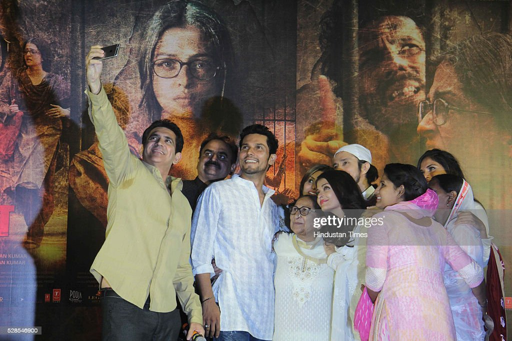 Bollywood director Omung Kumar, actors Randeep Hooda, Aishwarya Rai Bachchan with Sarabjit Singh's sister Dalbir Kaur, daughter Poonam Kaur and wife Sukhpreet Kaur during the 3rd death anniversary of Sarabjit Singh - a farmer from Punjab who was convicted of terrorism and spying by a Pakistani court, at ISKCON, Juhu, on May 4, 2016 in Mumbai, India. The function started with the recitation of some hymns from the Guru Granth Sahib, followed by the introduction of Sarabjit's family by the film's cast. The film will be narrated through the perspective of Sarabjit Singh's sister Dalbir Kaur played by Aishwarya Rai. The movie is schedule to release on May 20, 2016.