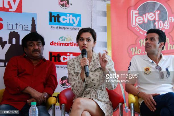 Bollywood director Shivam Nair actors Taapsee Pannu and Manoj Bajpayee during an exclusive interview with HT CityHindustan Times for the promotion of...