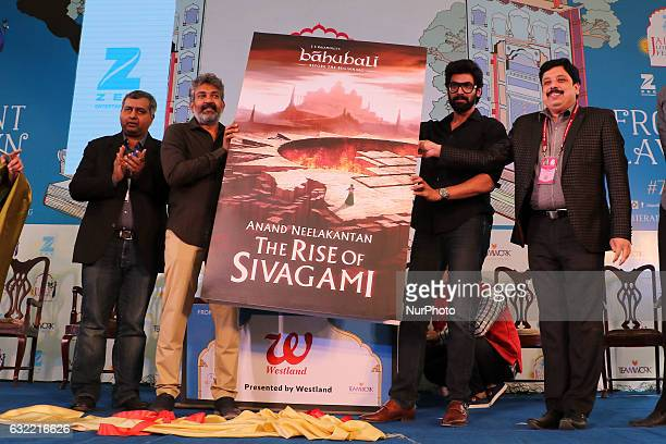 Bollywood Director SS Rajamouli Actor Rana Daggubati and Writer Anand Neelakanthan launch book of ' Baahubali' during the Jaipur Literature Festival...