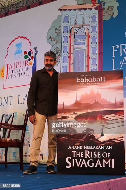 Bollywood Director SS Rajamouli launch book of ' Baahubali' during the Jaipur Literature Festival at Diggi Palace in Jaipur Rajasthan India on 20th...