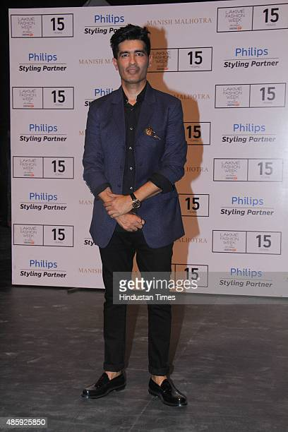 Bollywood fashion designer Manish Malhotra during the Lakme Fashion Week Winter/Festive 2015 Day 1 on August 26 2015 in Mumbai India