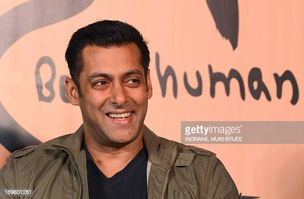 Bollywood film actor Salman Khan smiles during the launch of his 'Being Human' flagship clothing store in Mumbai on January 17 2013 Khan announced...