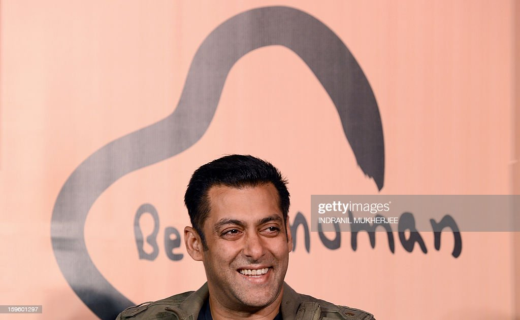 Bollywood film actor Salman Khan smiles during the launch of his 'Being Human' flagship clothing store in Mumbai on January 17, 2013. Khan announced the pan-India launch of his flagship retail store for 'Being Human' fashion apparel after having already launched in Paris, Belgium, Spain and Dubai.