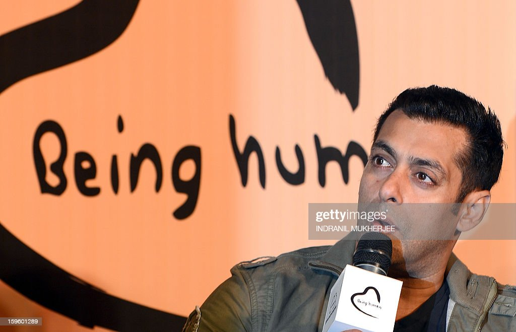 Bollywood film actor Salman Khan speaks during the launch of his 'Being Human' flagship clothing store in Mumbai on January 17, 2013. Khan announced the pan-India launch of his flagship retail store for 'Being Human' fashion apparel after having already launched in Paris, Belgium, Spain and Dubai.