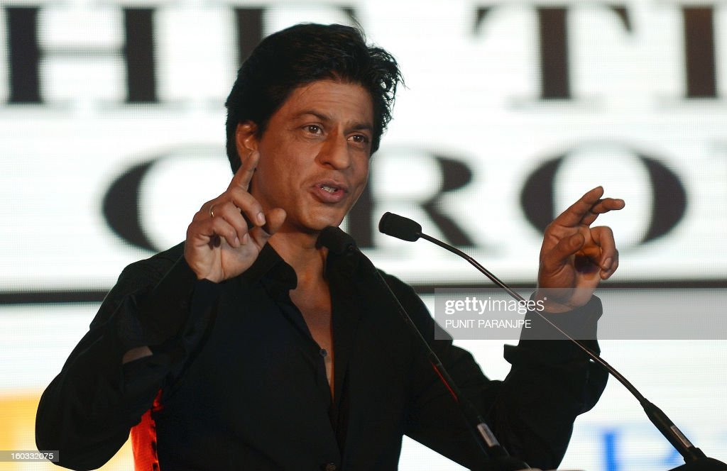 Bollywood film actor Shah Rukh Khan gestures as he speaks during a function to announce new Times Of India Film Awards (TOIFA) Bollywood awards in Mumbai on January 29, 2013. TOIFA Bollywood awards will take place in Vancouver, Canada from April 4 to 6, 2013.