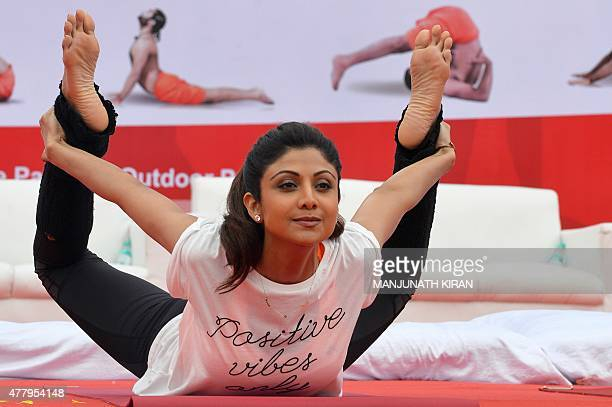 Bollywood film actress Shilpa Shetty Kundra performs yoga on stage during International Day of Yoga in Bangalore on June 21 2015 Prime Minister...