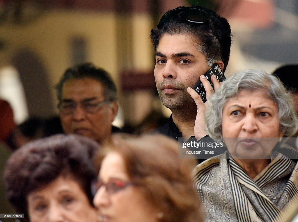 Bollywood film director Karan Johar at cremation ceremony of Shah Rukh Khan's fatherinlaw Colonel Ramesh Chibber at Lodhi Road Crematorium on March 2...