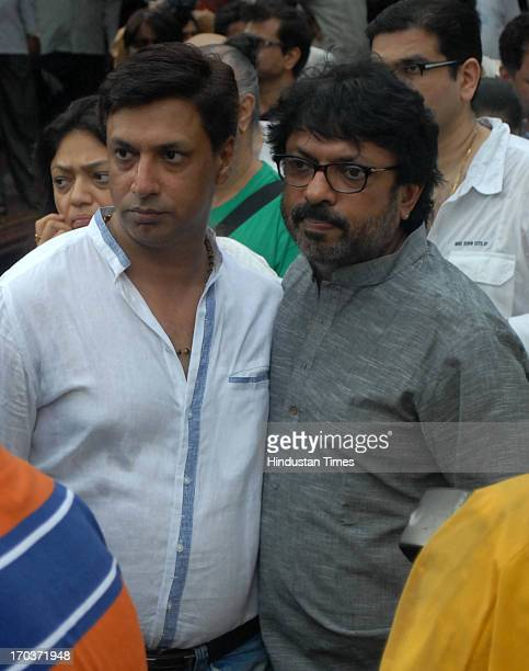 Bollywood film makers Madhur Bhandarkar and Sanjay Leela Bhansali during the funeral of Bollywood actress Priyanka Chopra's father Ashok Chopra who...