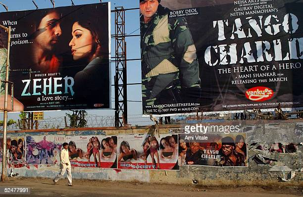 Bollywood film posters are plastered on nearly every free space in the city on March 25 2005 in Mumbai India Mumbai boasts the largest movie industry...