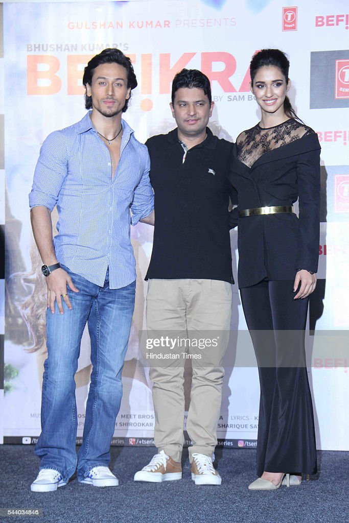 Bollywood filmmaker Bhushan Kumar and actors Tiger Shroff, Disha Patani during the launch of single album Befikra, on June 28, 2016 in Mumbai, India.