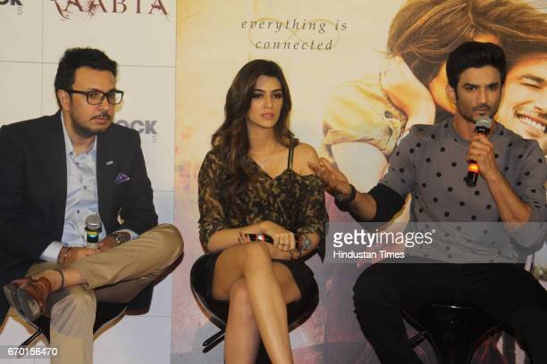 Bollywood filmmaker Dinesh Vijan actors Sushant Singh Rajput and Kriti Sanon during the trailer launch of movie Raabta at PVR Cinema Juhu on April 17...