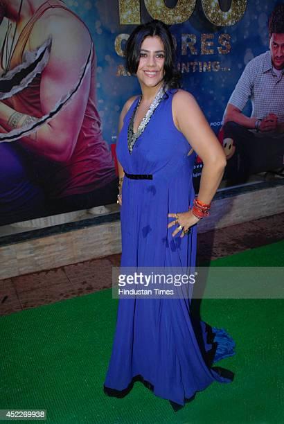 Bollywood filmmaker Ekta Kapoor during the grand success party of movie Ek Villain at Krishna Bunglow Juhu on July 15 2014 in Mumbai India