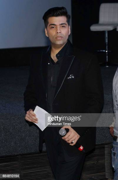 Bollywood filmmaker Karan Johar during the trailer launch of movie Baahubali 2 The Conclusion at Cinepolish Andheri West on March 16 2017 in Mumbai...
