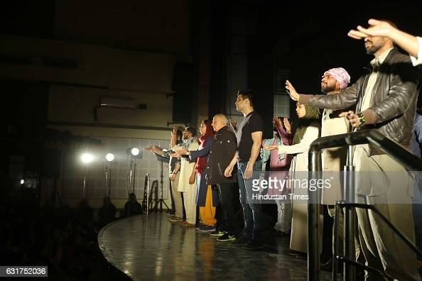 Bollywood filmmaker Mahesh Bhatt at Hansraj College to present Arvind Gaur's play The Last Salute on January 12 2017 in New Delhi India Based on...