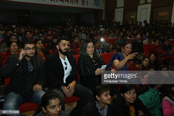 Bollywood filmmaker Pooja Bhatt at Hansraj College to present Arvind Gaur's play The Last Salute on January 12 2017 in New Delhi India Based on Iraqi...