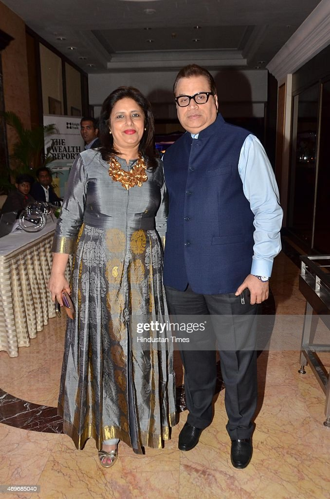 Bollywood filmmaker <a gi-track='captionPersonalityLinkClicked' href=/galleries/search?phrase=Ramesh+Taurani&family=editorial&specificpeople=6136061 ng-click='$event.stopPropagation()'>Ramesh Taurani</a> along with his wife Varsha Taurani during the fashion show organized by Anmol Jewelers on April 10, 2015 in Mumbai, India.