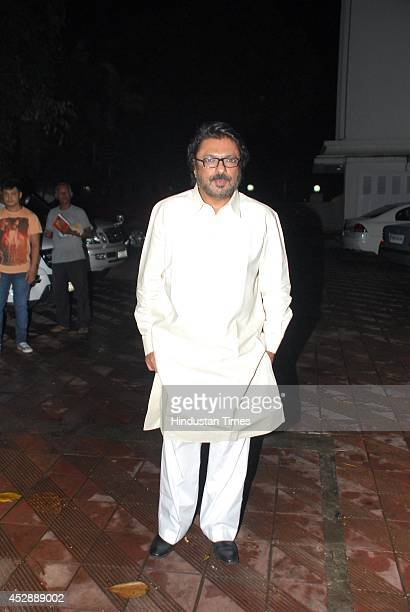 Bollywood filmmaker Sanjay Leela Bhansali during the birthday celebration of Bollywood actor Priyanaka Chopra on July 25 2014 in Mumbai India