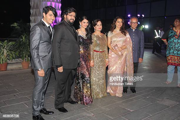 Bollywood filmmaker Smita Thackeray with her son Rahul Thackeray and Aditi Redkar her second son Aishwarya Thackeray Bollywood actor Juhi Chawla and...
