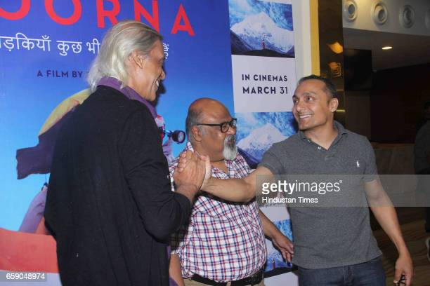 Bollywood filmmaker Sudhir Mishra with actors Saurabh Shukla and Rahul Bose during the screening of film 'Poorna Courage Has No Limit' on March 26...