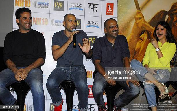 Bollywood filmmaker Vikramaditya Motwane actor Neil Bhoopalam filmmaker Navdeep Singh and actor Anushka Sharma during the first trailer launch of...