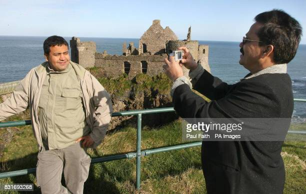 Bollywood filmmakers International film locations consulant JitendraChacha and producer Lawerence BD'Souza at Dunluce Castle in Co Antrim Friday 31...
