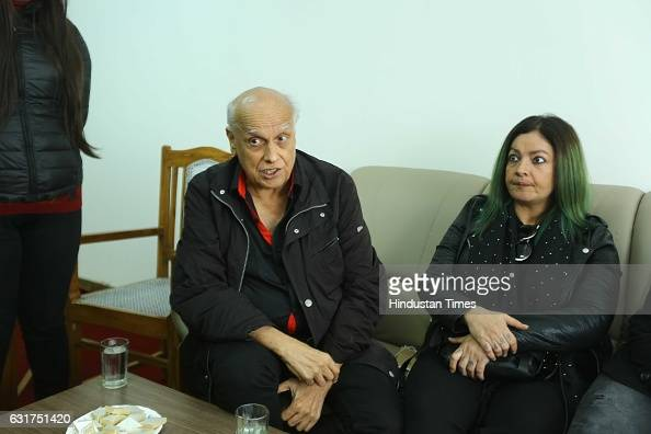 Bollywood filmmakers Mahesh Bhatt and Pooja Bhatt visit Hansraj College to present Arvind Gaur's play The Last Salute on January 12 2017 in New Delhi...