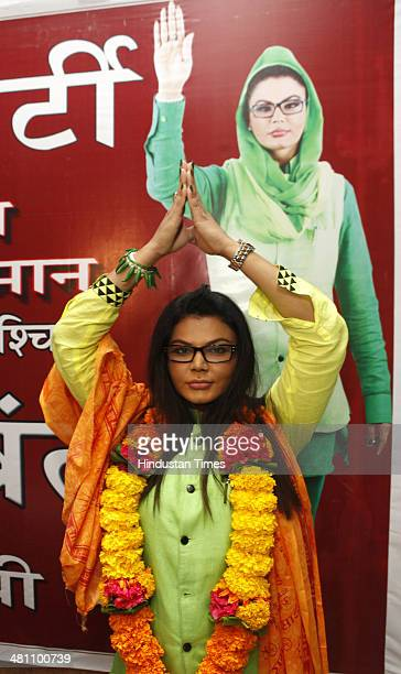 Bollywood item girl Rakhi Sawant announces new political party 'Rashtriya Aam Party' on March 28 2014 in Mumbai India She will contest the Lok Sabha...